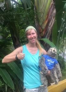 Stuffed sloth selfie