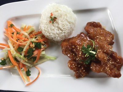 Orange and Sesame Chicken with Thai-style Chayote Slaw