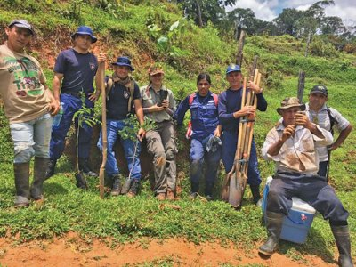 Members of Costa Rican Coast Guard & Ministry of Environment at tree planting.