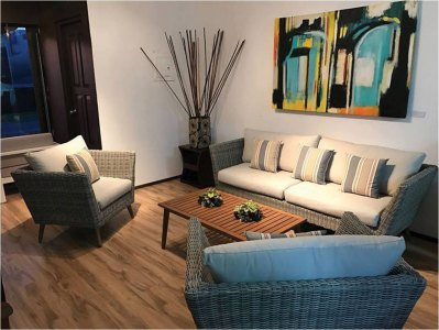 Simple sitting area with art