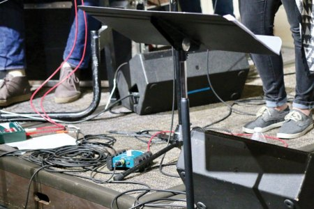 Equipment and wires on stage