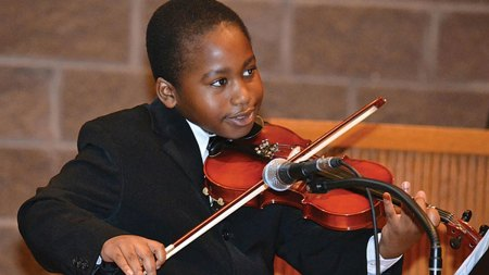 Boy playing violin