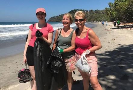 Volunteers cleaning a beach