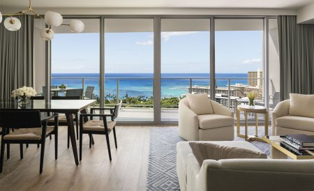 living and dining room with ocean view