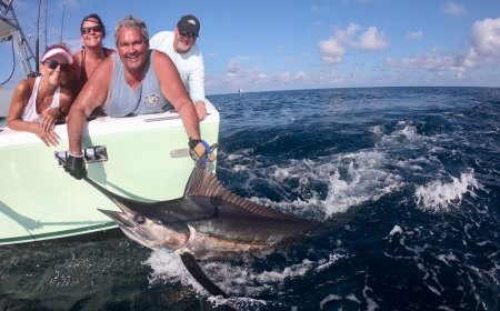 Man releasing a marlin