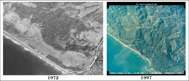Aerials photos comparing 1972 and 1997