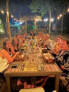 Volunteers at dinner