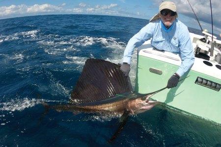 Man releasing a billfish