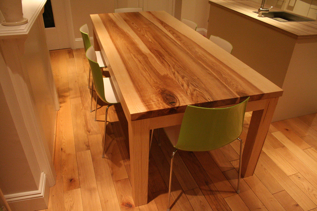 Bespoke Handmade Contemporary Dining Table in Flaming Ash