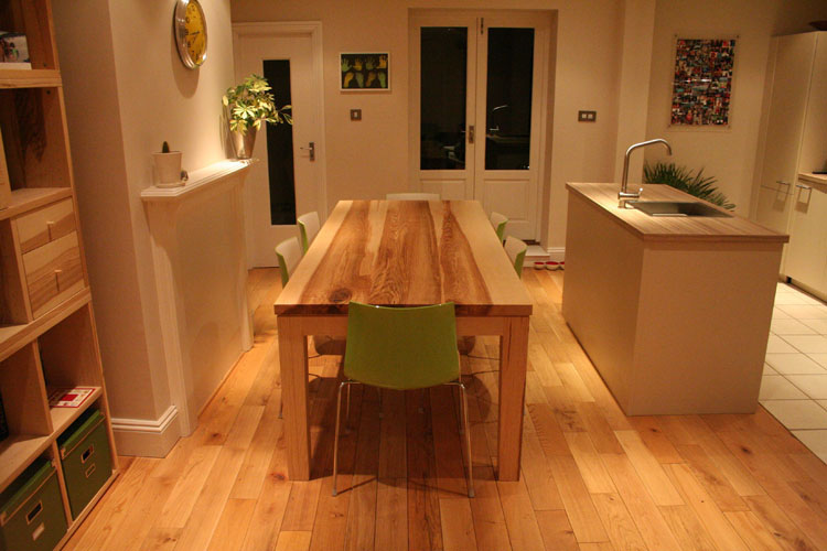 Contemporary Bespoke Handmade Ash Dining Table in situ