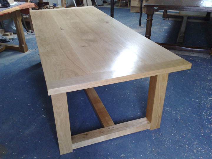 Contemporary Oak Bespoke Refectory Table in Workshop