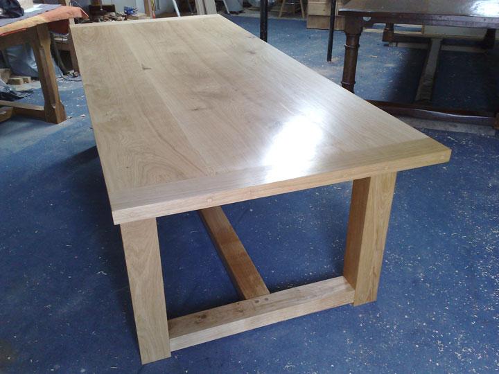 Contemporary Oak Bespoke Refectory Table in Workshop