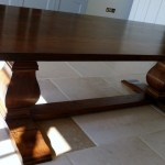 Bespoke dining table with bulbous leg base