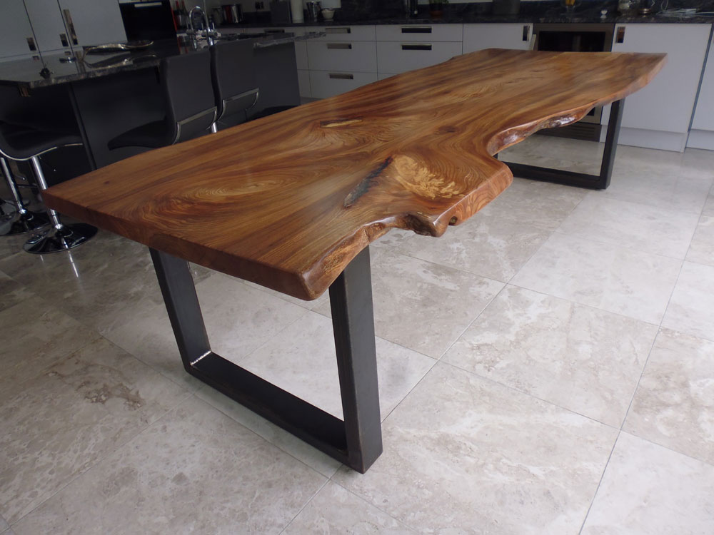 English Elm Large 10 to 12 Seat Waney Edge Slab Dining Table