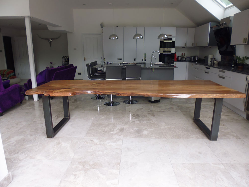 Bespoke English Elm Waney Edge Handmade Slab Dining Table
