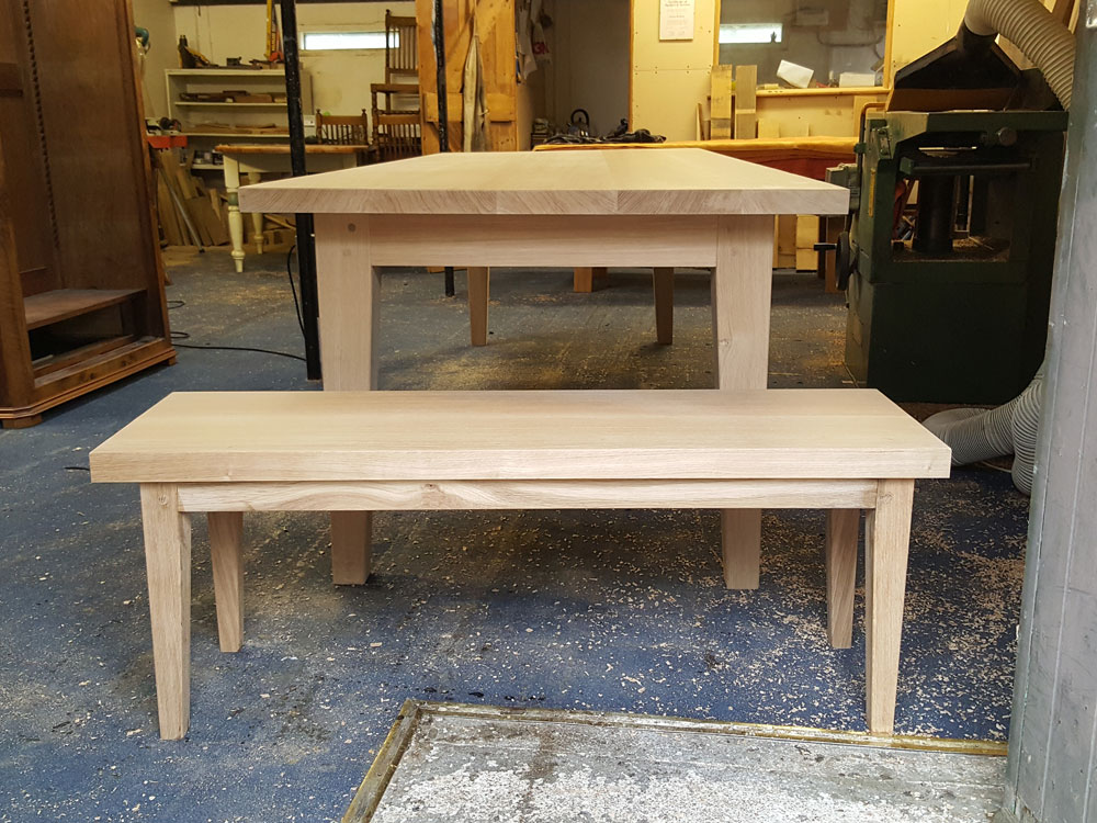 Oak Bespoke Handmade Dining Table with matching bench
