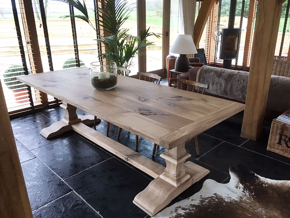 Bespoke Handmade Oak Dining Table with Pedestal Base