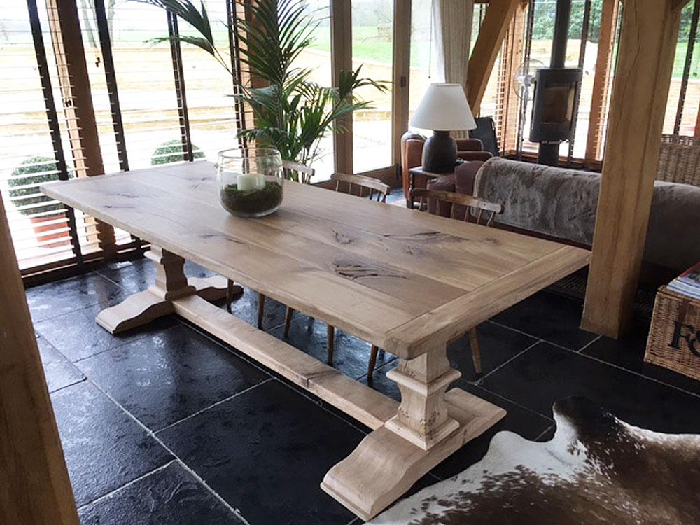Bespoke Handmade Oak Dining Table with Pedestal Base