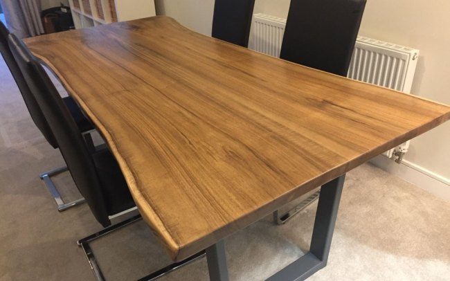 Handmade Waney Edge Dining Table with metal legs