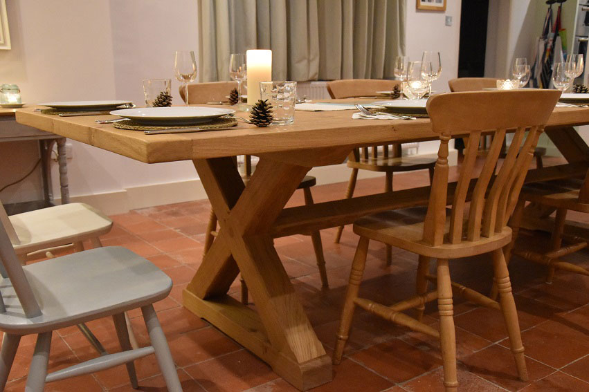 Handmade Oak Dining Table with X Frame Base