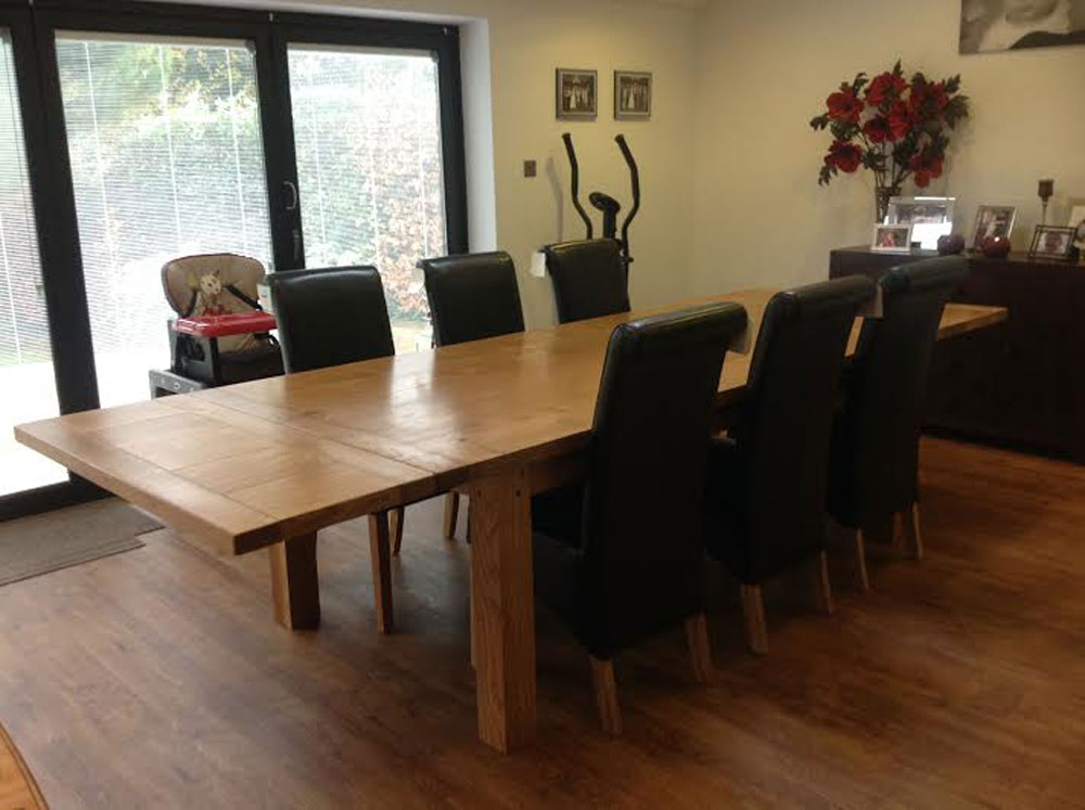 Fully extended handmade dining table