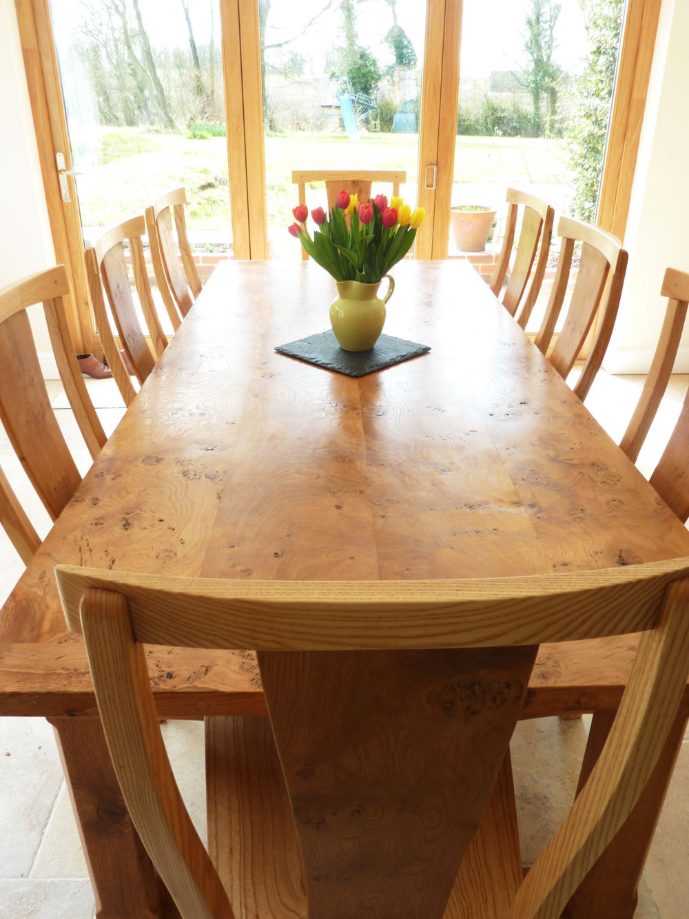Large Handmade Extending Refectory Table and Chairs