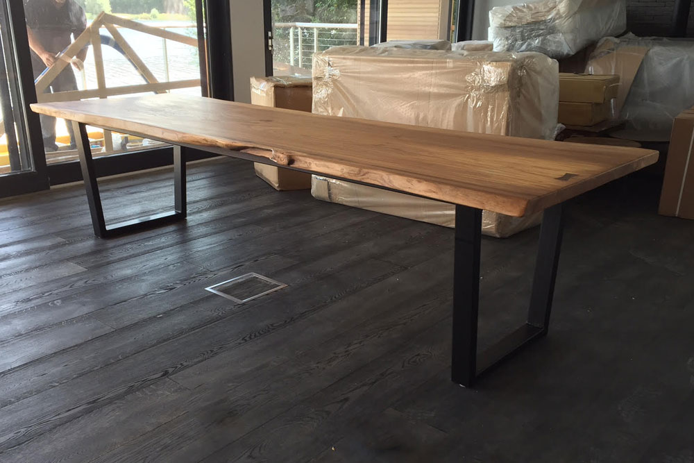 Waney Edge Dining Table with metal legs