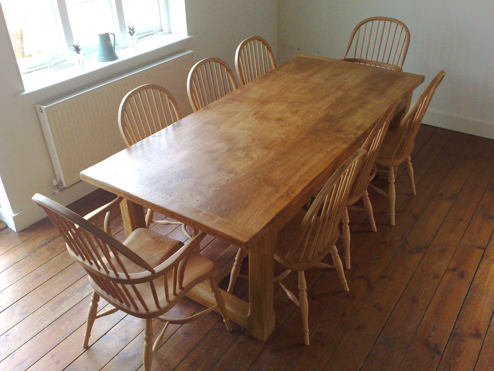 "Handmade refectory table top with ""show"" board made from Pippy oak"