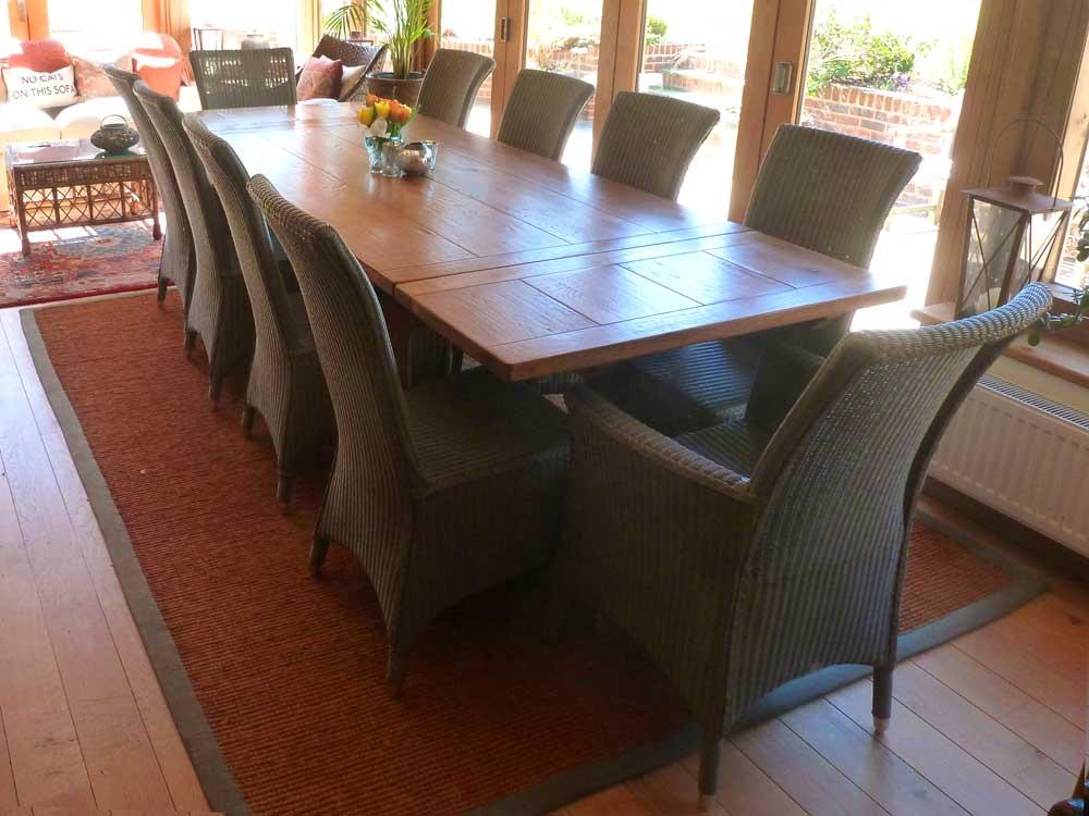 10 Seat Bespoke Oak Extending Refectory Table Fully Extended