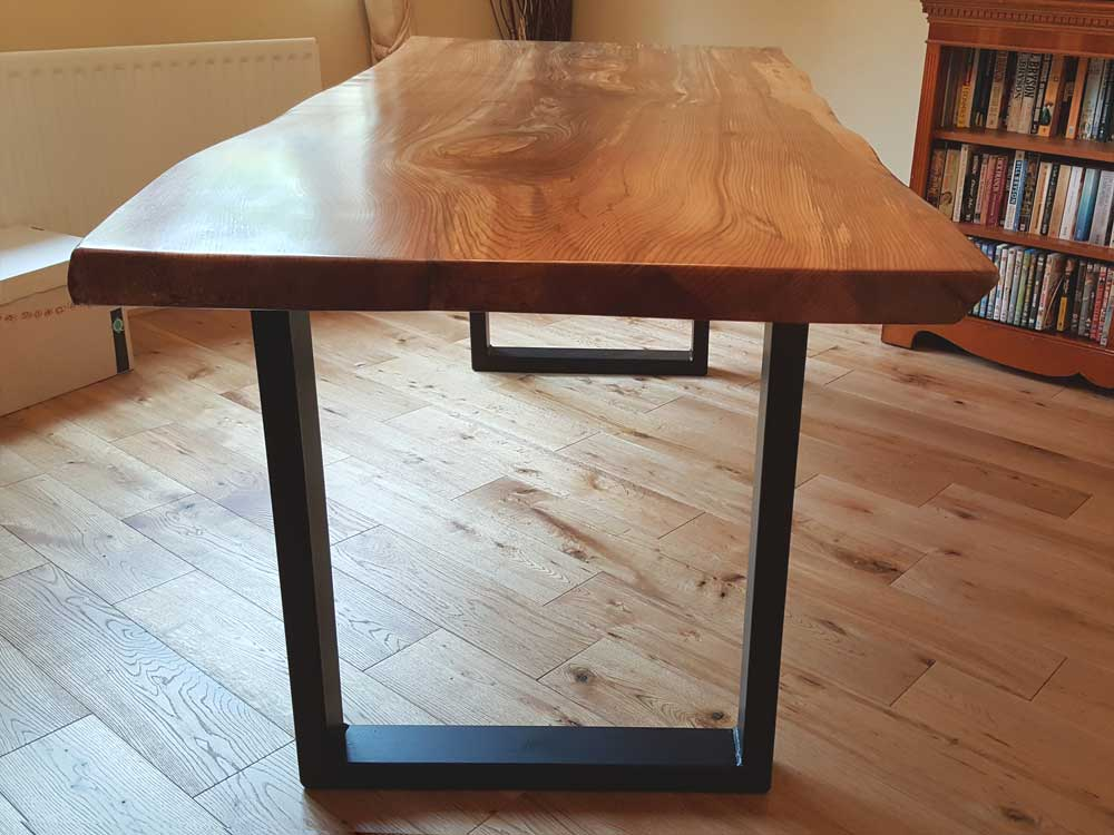 Bespoke Waney Edge Slab Dining Table with Metal Base