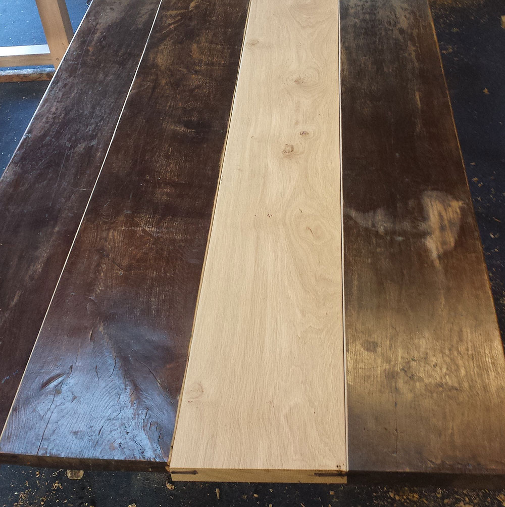 Antique Refectory Table Restoration - New Board Inserted
