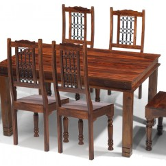 Table High Chair Reviews Revolving Manufacturer In Delhi Jali Sheesham 160 Cm Chunky Dining And 6 Chairs