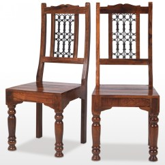 Low Back Dining Chairs Chair King Houston Area Jali Sheesham Ironwork Pair