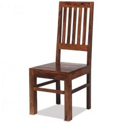 Wooden High Chair Uk Swivel Glider Rocking Jali Sheesham Back Slat Dining Chairs Pair
