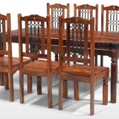 Table And 6 Chairs Chair Dining Set Jali Sheesham 180 Cm Thakat