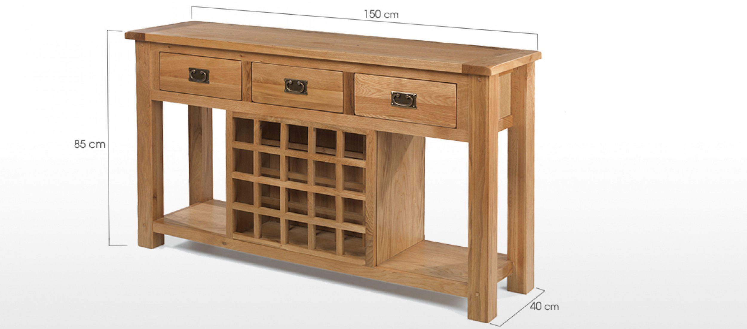 standard sofa table length cama barato barcelona rustic oak wine rack console quercus living