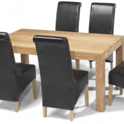 6 Chair Dining Table Glass And Chairs Cube Oak 160 Cm Quercus Living