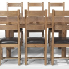 Rustic Dining Table And Chairs Burlap Chair Cushions Oak 132 198 Cm Extending 8