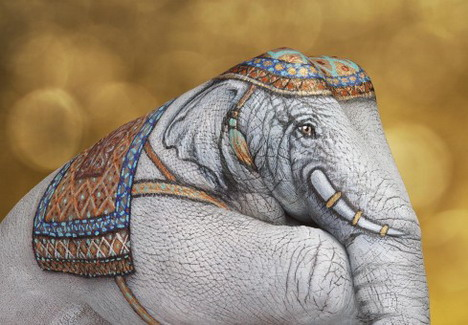 Elephant painted on a hand