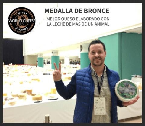 Queso azul premiado con bronce en la categoría mejor queso elaborado con leche de más de un animal World Cheese Awards 2016