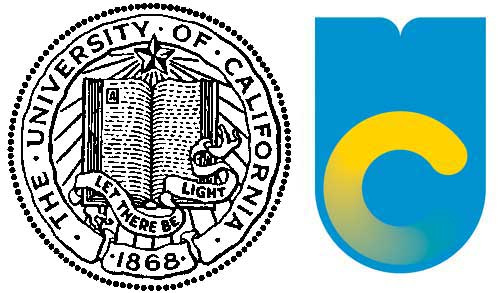 The older, unofficial University of California seal is displayed to the left of the system's recent monogram logo. Use of the logo was suspended Friday amid complaints from alumni and others.