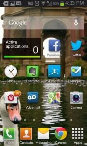 Out with the old… The old TouchWiz launcher from my Galaxy SII.