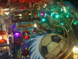 A portion of the playing field for 1994's World Cup Soccer pinball game on display at the 2014 Pin-a-Go-Go show in Dixon, California.