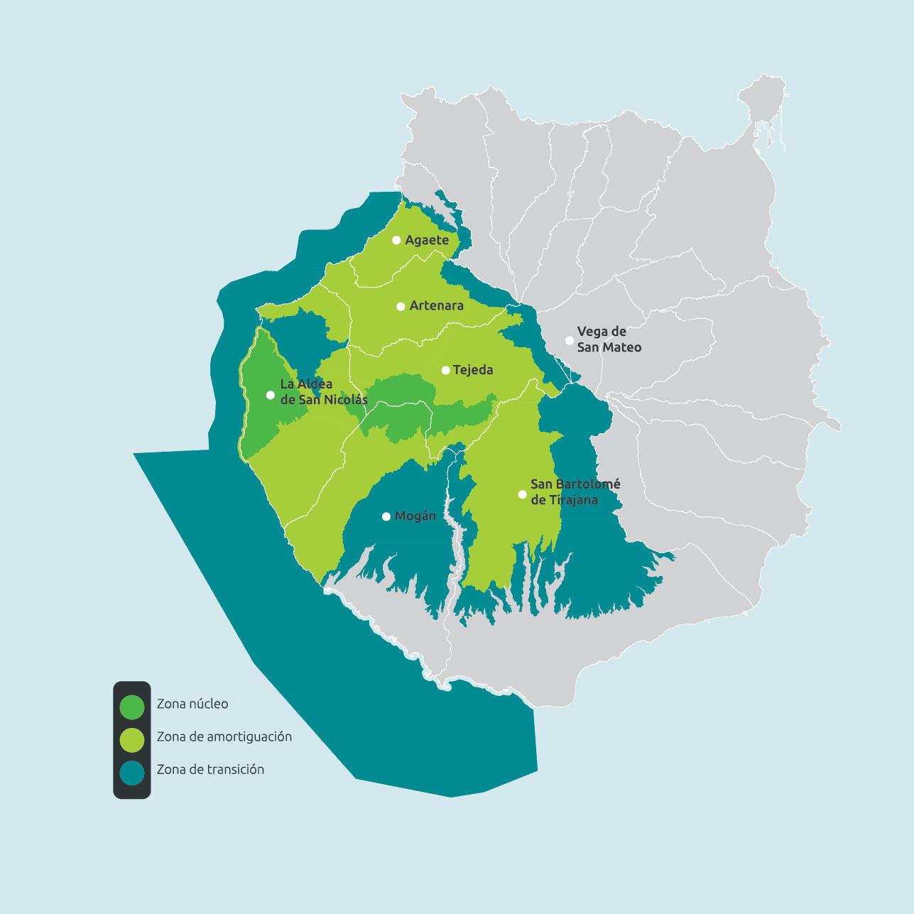 Mapa de la Reserva de la Biosfera de Gran Canaria