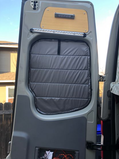 Sprinter van window shade in place on rear door