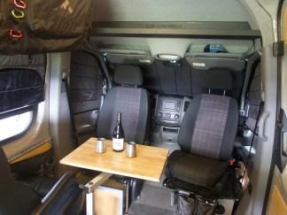 Sprinter van interior with window covers
