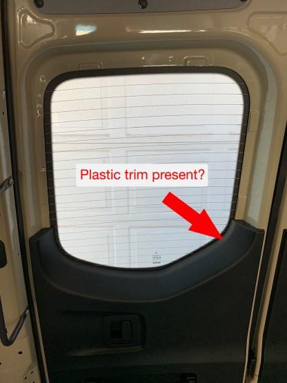 Plastic trim on rear doors