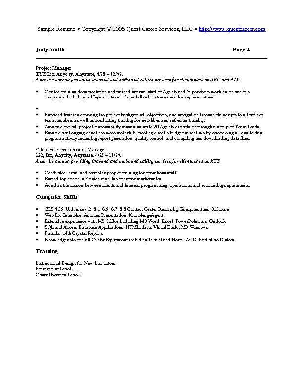 Sample Resume Example 7 HR Or Training Resume  Training On Resume