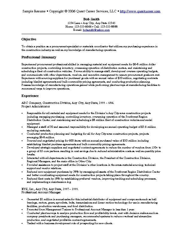 Sample Resume Example 8 Purchasing Resume Procurement Resume