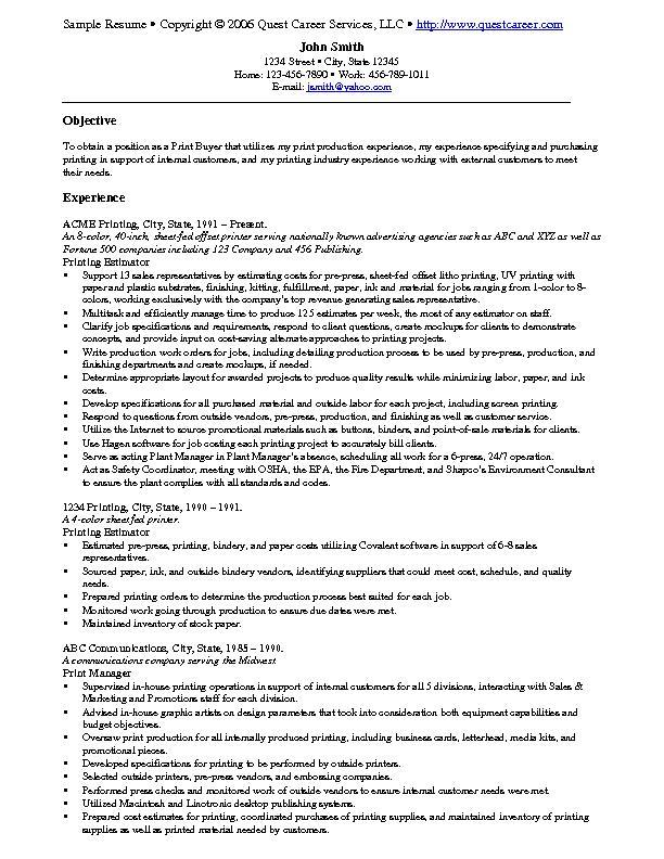 Sample Resume Example 9 Print Buyer Resume Example Or Printing